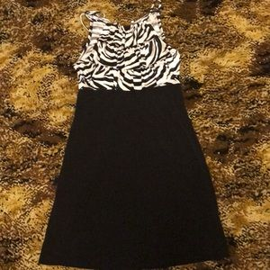 Small white and black silky dress